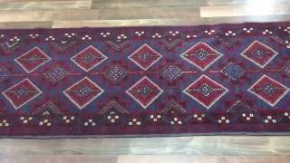 Semi-Antique Blue and Red Persian Baluch Runner Rug 2'2X8'9 - H 1790