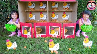 หนูยิ้มหนูแย้ม   เลี้ยงไก่เก็บไข่ ในฟาร์มไก่ที่บ้าน