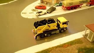 Faller Car System Eigenbau: Wiking Abrollkipper/LKW Fahrvideo