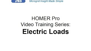 HOMER Renewable Energy Software Training - Electric Loads