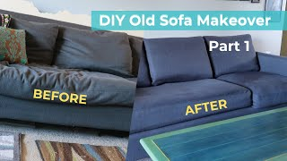 DIY Old Couch Makeover - start with adding to your cushions