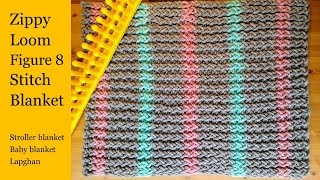 Zippy Loom Double Knit Figure 8 Stitch Striped Blanket   Baby / Stroller / Lapghan