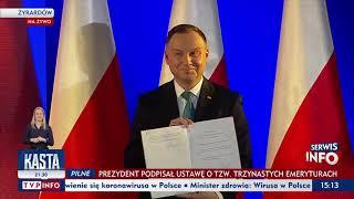 Prezydent podpisał ustawę w sprawie trzynastych emerytur i rent