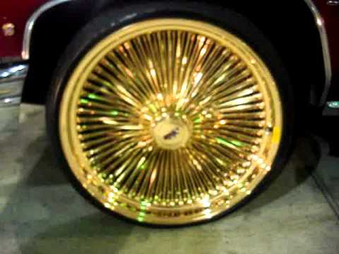"1976 CANDY APPLE RED CAILLAC ON 24"" ALL GOLD DAYTONS RIMS Mp3"