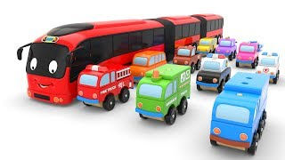 Learn Colors with Street  Vehicles Toys and Toy Bus for Kids