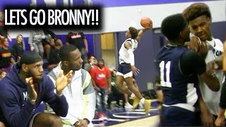 Bronny James GETS PUSHED In Front Of LEBRON! Responds With A NASTY DUNK!