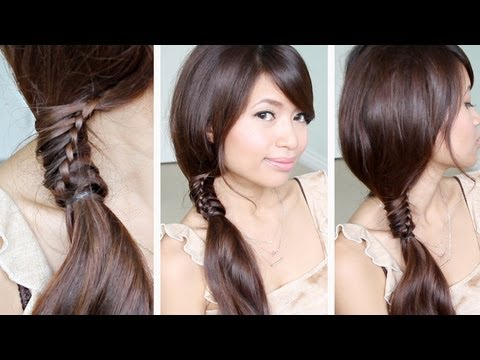 Cool Chinese Staircase Stitch Side Ponytail Hairstyle For Medium