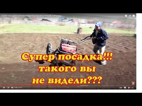 СУПЕР ПОСАДКА КАРТОШКИ МОТОБЛОКОМ В ГРЕБНИ, БОРОЗДЫ