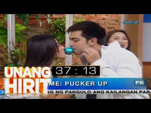 [GMA]  Unang Hirit: Sanya Lopez at Derrick Monasterio, sumabak sa 'Pucker Up Challenge!'
