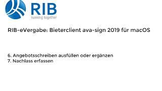 RIB e-Vergabe: Bieterclient ava-sign 2019 für macOS - Angebot GAEB-LV abgeben