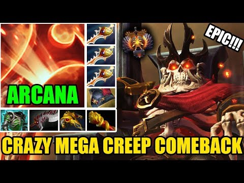 EPIC WRAITH KING ARCANA GAMEPLAY With 3 Rapiers + Pirate Hat Crazy Mega Creeps Defend Dota 2