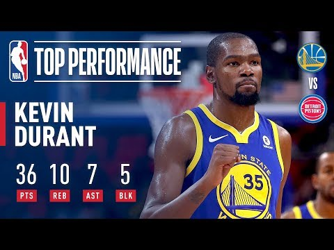 Kevin Durant Scores 36 Pts to Lead Warriors Over Pistons   December 8, 2017