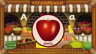 Выучи азбуку азбуки с 26 фруктами.Письма А-Я