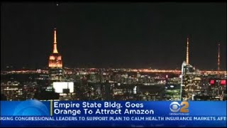 Empire State Building Goes Orange To Attract Amazon