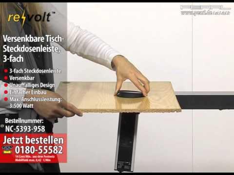 revolt Versenkbare Tisch-Steckdosenleiste, 3-fach (refurbished)