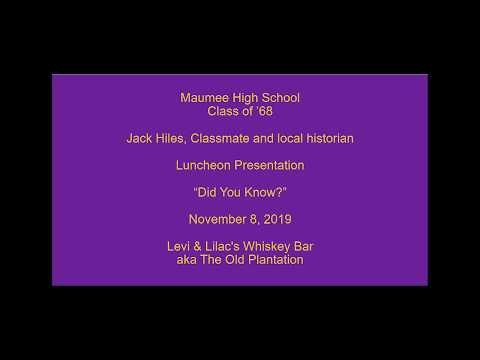 Maumee High School Class of 1968 Luncheon Presentation by Jack Hiles at Levi and Lilac's Whisky Bar