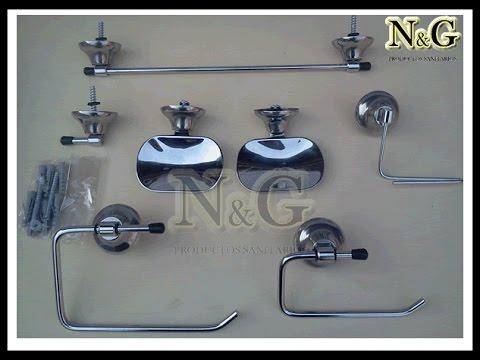 Kit Set De Accesorios Para Baño 7 Piezas Cromado, NG Productos Sanitarios
