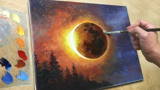Acrylic Painting Solar Eclipse 2019
