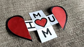 DIY - Mothers Day Special Card | Beautiful Handmade Heart Shape Greeting Cards Idea