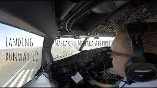 Approach and landing runway 10 Marrakech Menara airport (RAK GMMX)