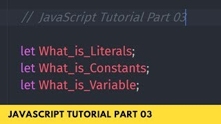 What is Literals, Constants, and Variables - JavaScript Tutorial Part - 03