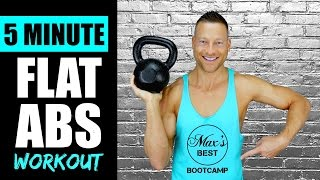 5 MINUTE KETTLEBELL ABS WORKOUT FOR A FLAT STOMACH | Quick Kettlebell Abs Workout Routine 1 by Max's Best Bootcamp