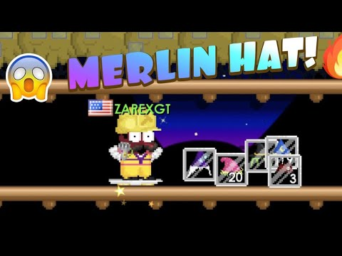 Breaking wizard hat trees AND GETTING MERLIN HAT! | Growtopia