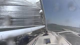 Video 2 Corsair 31R trimaran Roshambo on San Francisco bay 2013 SSS round the rocks race
