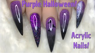 Purple Halloween Nails | Acrylic Nails | Nail Sugar