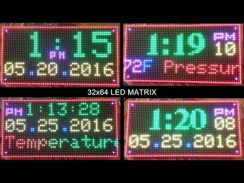 64x32 RGB Led Matrix Display Clock Arduino Mega2560 with BMP180