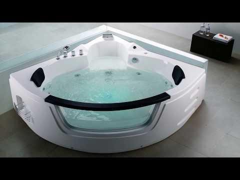 Whirlpool Badewanne Mallorca Eckwanne mit 12 Massage Düsen Glas LED für Bad Spa nur 989 €