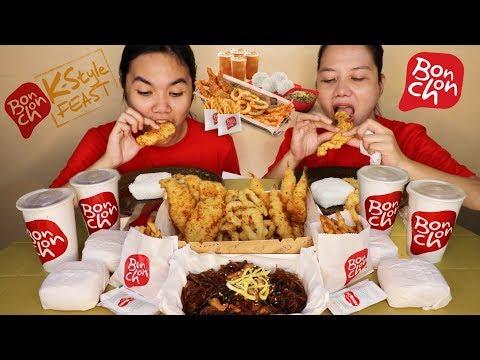 Bonchon,Seafood Platter Team (Shrimps,Squid,Fish Fillet,Fries,Japchae,Rice and Drinks)Pinoy Mukbang!