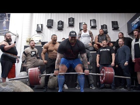 "You may start screaming at this video of Hafthor ""The Mountain"" Bjornsson deadlifting 1042lbs with a screaming herd of Icelandic Strongmen"