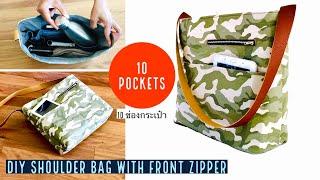 DIY BAG/SHOULDER-CROSSBODY-ORGANIZER ZIPPER BAG/TOTE BAG /BOLSA DIY/RECYCLING/EASY TUTORIAL/กระเป๋า