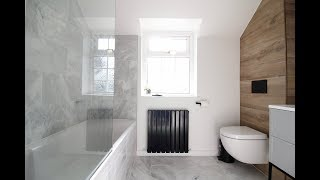 REVEAL! Modern Marble Bathroom Makeover With Black Taps And Herringbone Tiles - Amazing Makeovers