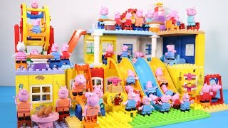 Peppa Pig House Creations With Water Slide Toys - Lego House Toys For Kids #4