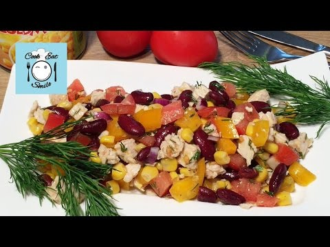 Разноцветный мексиканский салат с курицей. ПП