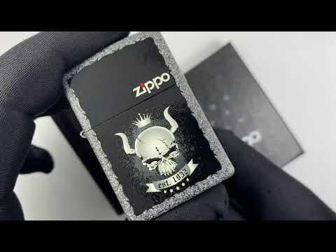28660 Зажигалка Zippo Skull Сrown, Iron Stone