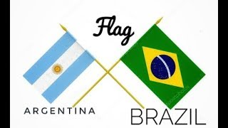 Argentina Vs Brazil Flag Create With Color Paper-  Paper Crafts Flags -পতাকা