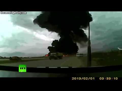 لحظة سقوط وانفجار طائرة الشحن الأمريكية في أفغانستان