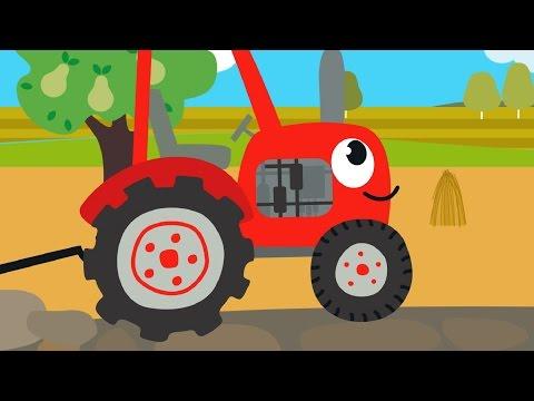 Друзья Животные - Веселая обучающая песенка для детей, малышей - Трактор едет в гости к друзьям видео