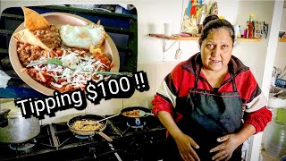 Mexican Street Food - Tipping $100 Dollars At The End - CLASSIC Mexican Breakfast