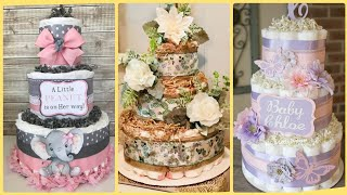 Unique Diaper Cakes,Cake Ideas,Baby Shower Decoration