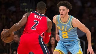 John Wall vs Lonzo Ball for the Game! Overtime Thriller! Wizards vs Lakers 2017-18 Season