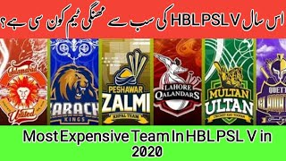 Most Expensive Team Of Hbl Psl V 2020 | Hbl Psl 2020 | Most Expensive Player Of Psl | Cricket Junoon