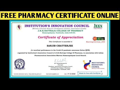 Free Pharmacy Certificate INSTITUTION'S INNOVATION COUNCIL ...