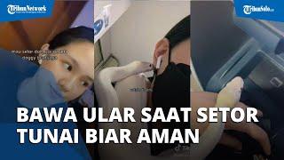 Viral Video Aksi Wanita Bawa Ular saat Setor Uang ke ATM, Mengaku Biar Aman
