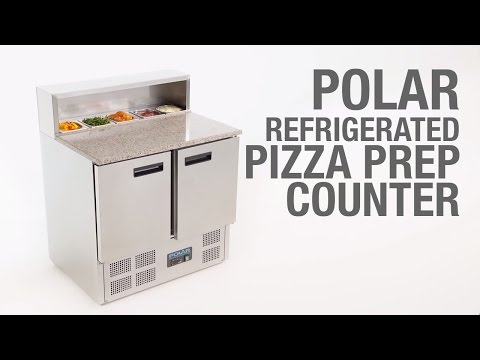 Video Polar RVS pizzawerkbank - G603 - 2 deuren - marmer blad