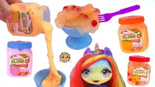 Chunky Slime Food ! Mac + Cheese  for Rainbow Baby Unicorn - Toy Video