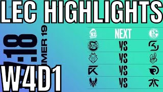 LEC Highlights ALL GAMES Week 4 Day 1 Summer 2019 League of Legends EULCS